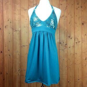 Victoria's Secret Teal Sequin Cotton Halter Dress